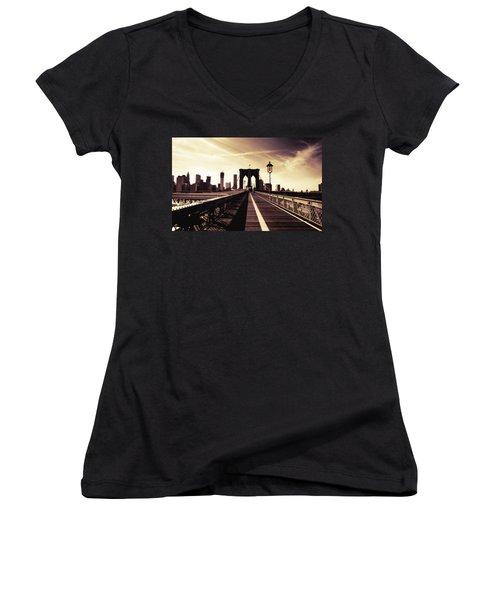 The Brooklyn Bridge - New York City Women's V-Neck T-Shirt (Junior Cut) by Vivienne Gucwa