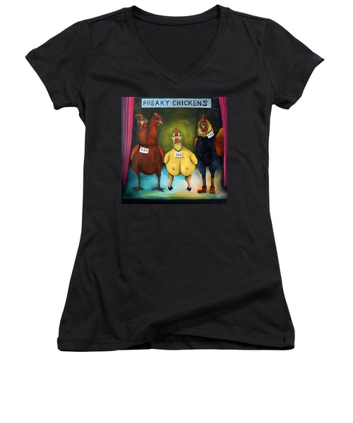The Freaky Chicken Competition Women's V-Neck T-Shirt (Junior Cut) by Leah Saulnier The Painting Maniac