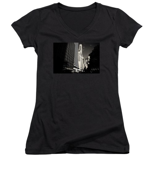 The Grace Building And The Chrysler Building - New York City Women's V-Neck T-Shirt (Junior Cut) by Vivienne Gucwa