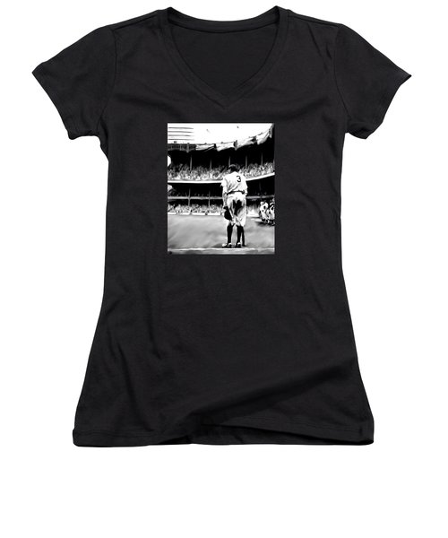 The Greatest Of All  Babe Ruth Women's V-Neck T-Shirt (Junior Cut) by Iconic Images Art Gallery David Pucciarelli