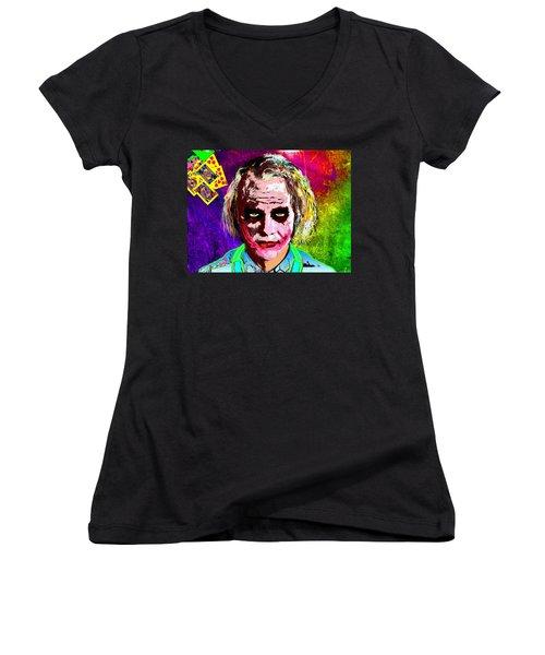 The Joker - Heath Ledger Women's V-Neck T-Shirt (Junior Cut) by Daniel Janda