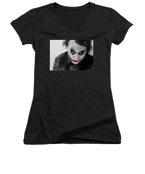 The Joker Women's V-Neck T-Shirt (Junior Cut) by Robert Bateman