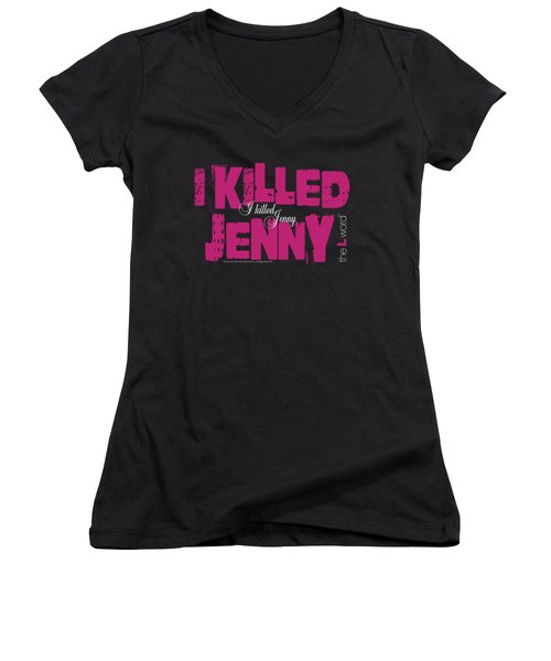 The L Word - I Killed Jenny Women's V-Neck T-Shirt (Junior Cut) by Brand A