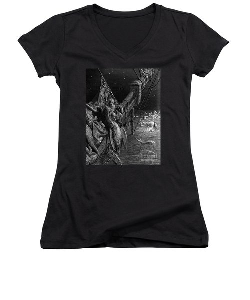 The Mariner Gazes On The Serpents In The Ocean Women's V-Neck T-Shirt (Junior Cut) by Gustave Dore