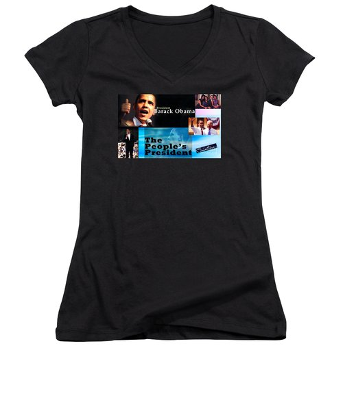 The People's President Still Women's V-Neck T-Shirt (Junior Cut) by Terry Wallace