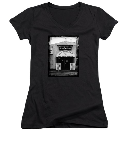 The Stone Pony Women's V-Neck T-Shirt (Junior Cut) by Colleen Kammerer