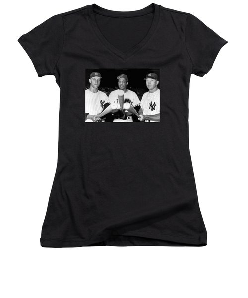 Three Slugging Outfielders Women's V-Neck T-Shirt (Junior Cut) by Underwood Archives