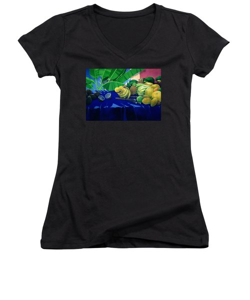 Tropical Fruit Women's V-Neck T-Shirt (Junior Cut) by Lincoln Seligman