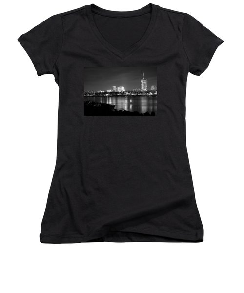 Tulsa In Black And White - University Tower View Women's V-Neck T-Shirt (Junior Cut) by Gregory Ballos