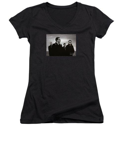 U2 Women's V-Neck T-Shirt (Junior Cut) by Paul Meijering