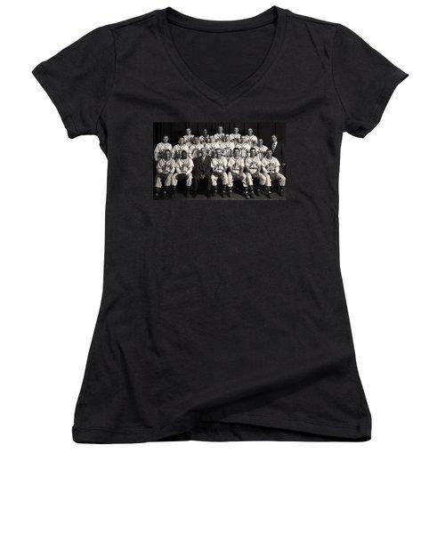 University Of Michigan - 1953 College Baseball National Champion Women's V-Neck T-Shirt (Junior Cut) by Mountain Dreams