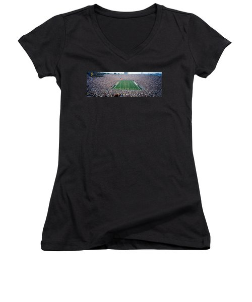 University Of Michigan Football Game Women's V-Neck T-Shirt (Junior Cut) by Panoramic Images