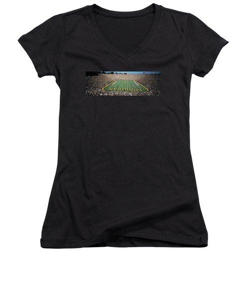 University Of Michigan Stadium, Ann Women's V-Neck T-Shirt (Junior Cut) by Panoramic Images