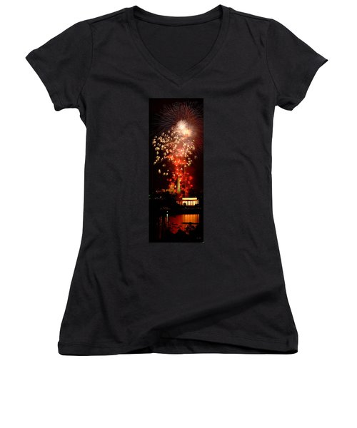 Usa, Washington Dc, Fireworks Women's V-Neck T-Shirt (Junior Cut) by Panoramic Images