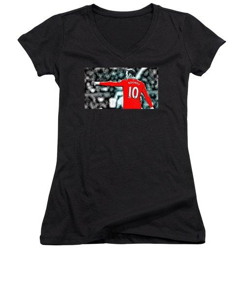 Wayne Rooney Poster Art Women's V-Neck T-Shirt (Junior Cut) by Florian Rodarte