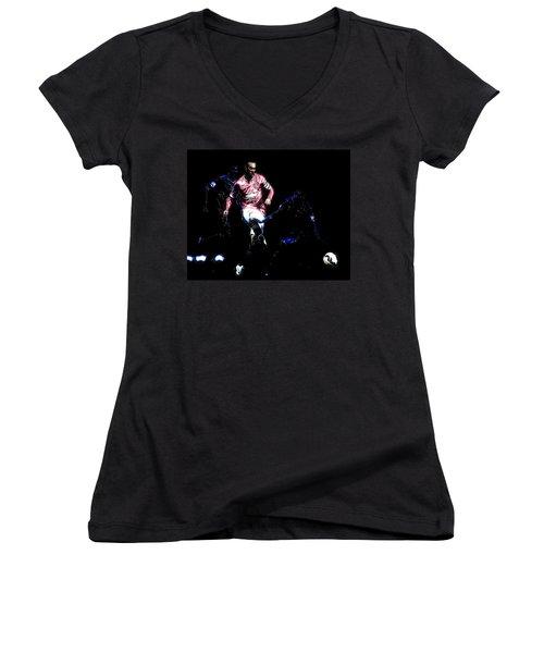 Wayne Rooney Working Magic Women's V-Neck T-Shirt (Junior Cut) by Brian Reaves