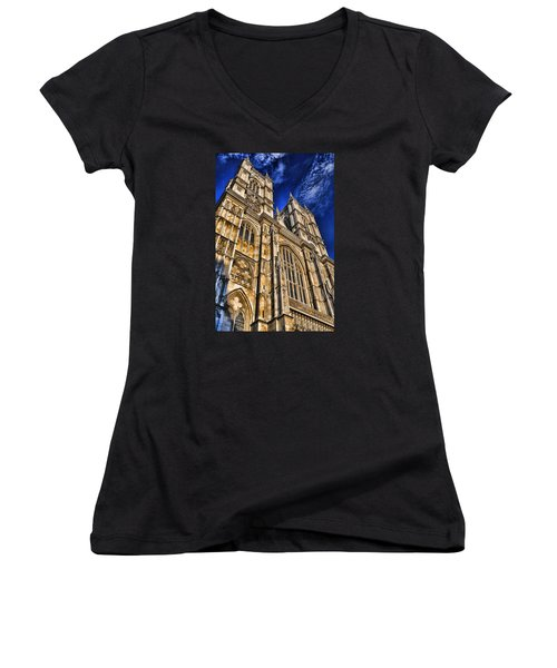 Westminster Abbey West Front Women's V-Neck T-Shirt (Junior Cut) by Stephen Stookey