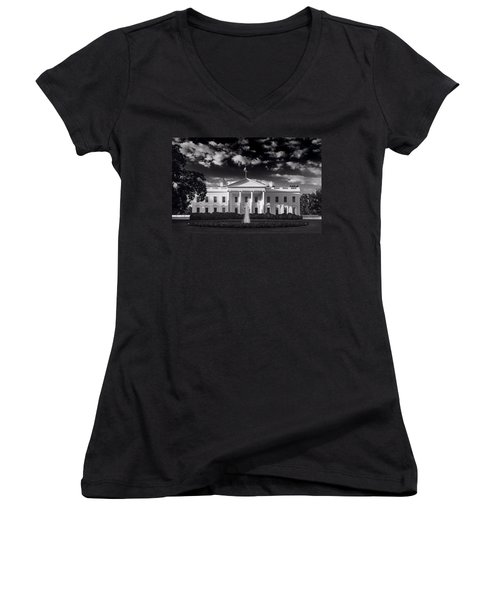 White House Sunrise B W Women's V-Neck T-Shirt (Junior Cut) by Steve Gadomski