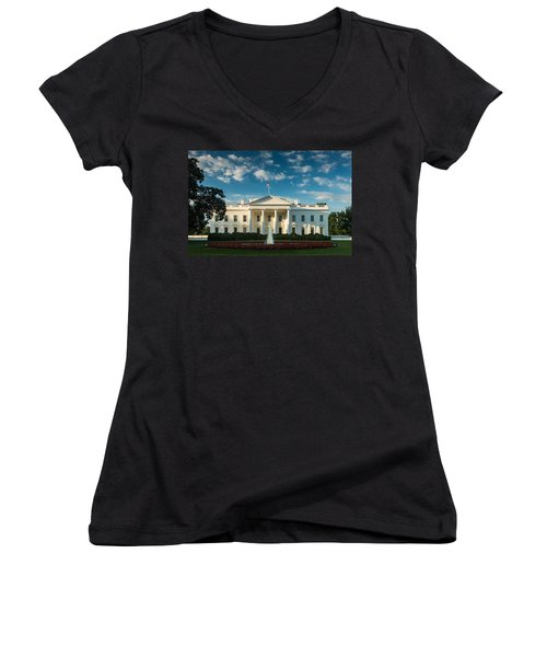 White House Sunrise Women's V-Neck T-Shirt (Junior Cut) by Steve Gadomski