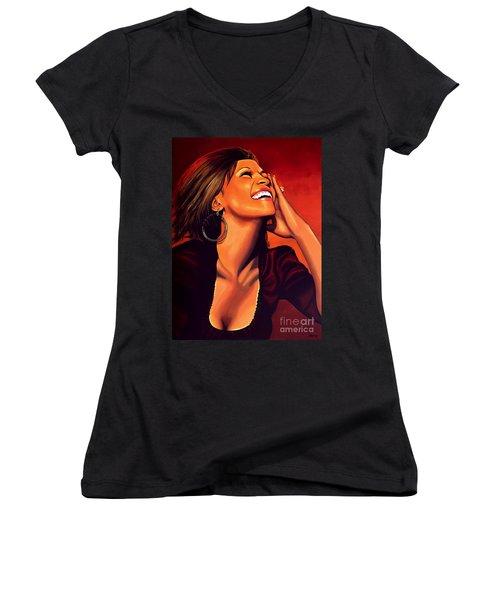 Whitney Houston Women's V-Neck T-Shirt (Junior Cut) by Paul Meijering