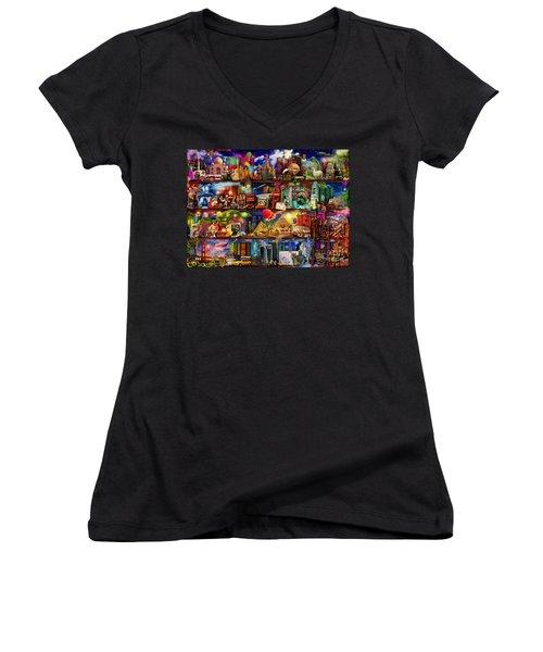 World Travel Book Shelf Women's V-Neck T-Shirt (Junior Cut) by Aimee Stewart