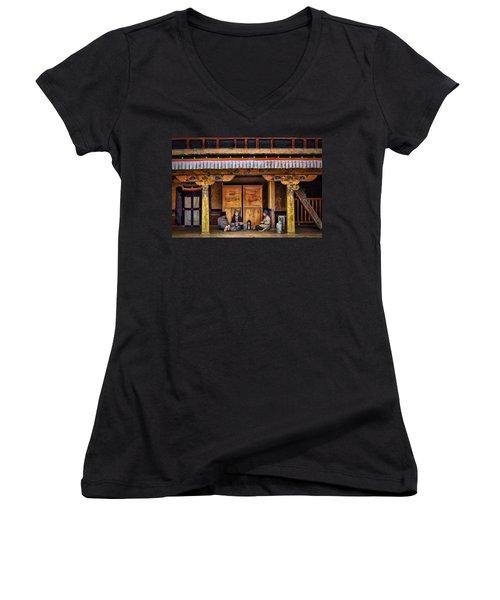 Yak Butter Tea Break At The Potala Palace Women's V-Neck T-Shirt (Junior Cut) by Joan Carroll