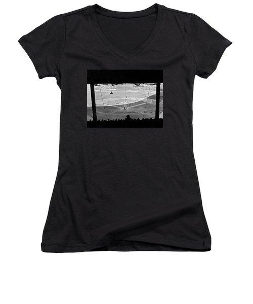 Yankee Stadium Grandstand View Women's V-Neck T-Shirt (Junior Cut) by Underwood Archives