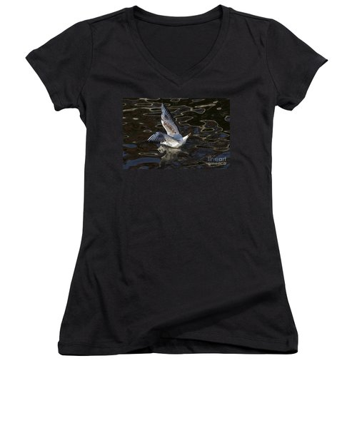 Head Under Water Women's V-Neck T-Shirt (Junior Cut) by Michal Boubin