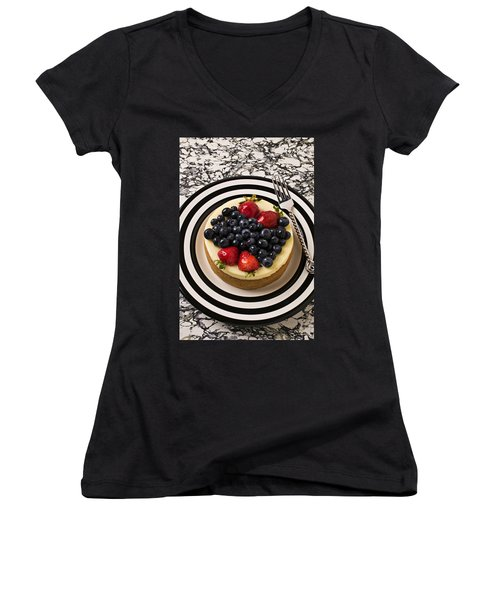 Cheese Cake On Black And White Plate Women's V-Neck T-Shirt (Junior Cut) by Garry Gay