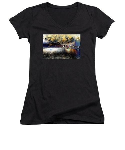 City Of Color Women's V-Neck T-Shirt (Junior Cut) by Douglas Barnard