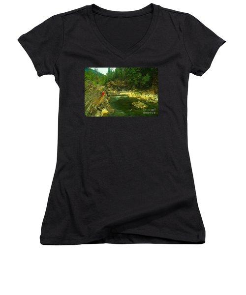 Cliff Over The Yak River Women's V-Neck T-Shirt (Junior Cut) by Jeff Swan