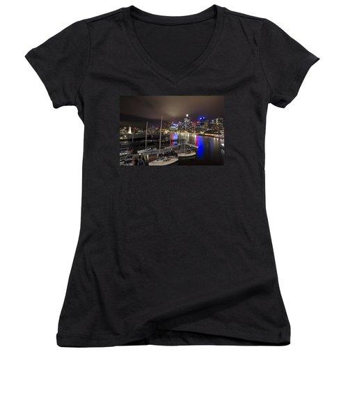 Darling Harbor Sydney Skyline 2 Women's V-Neck T-Shirt (Junior Cut) by Douglas Barnard