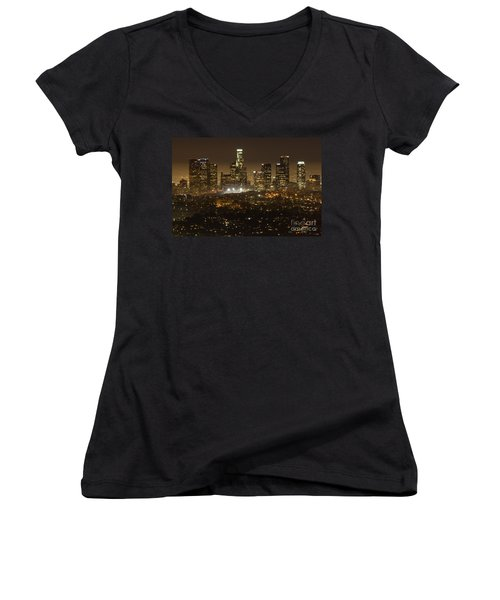 Los Angeles Skyline At Night Women's V-Neck T-Shirt (Junior Cut) by Bob Christopher