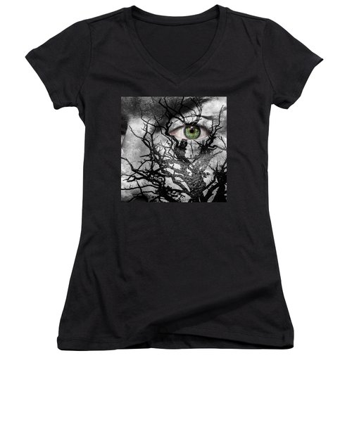 Medusa Tree Women's V-Neck T-Shirt (Junior Cut) by Semmick Photo