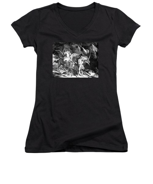 Mythology: Perseus Women's V-Neck T-Shirt (Junior Cut) by Granger