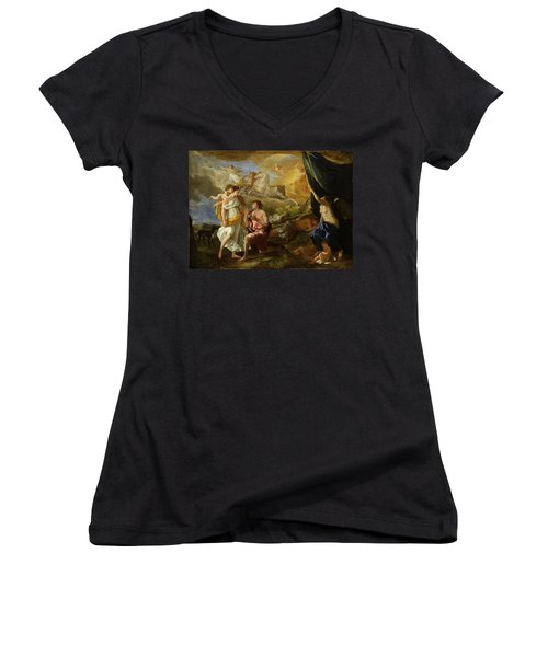 Selene And Endymion Women's V-Neck T-Shirt (Junior Cut) by Nicolas Poussin