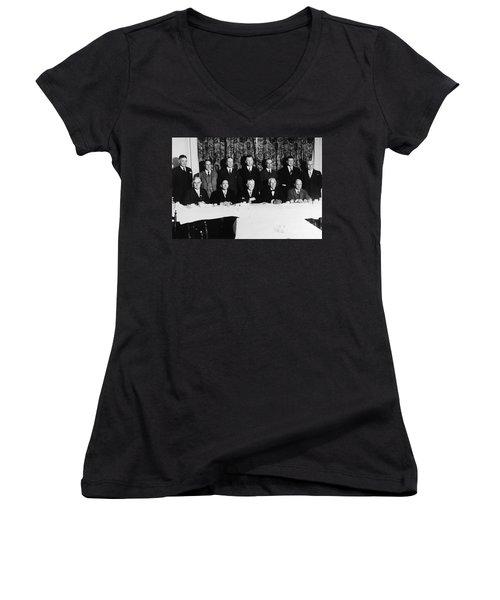 Sports Luncheon, 1930 Women's V-Neck T-Shirt (Junior Cut) by Granger