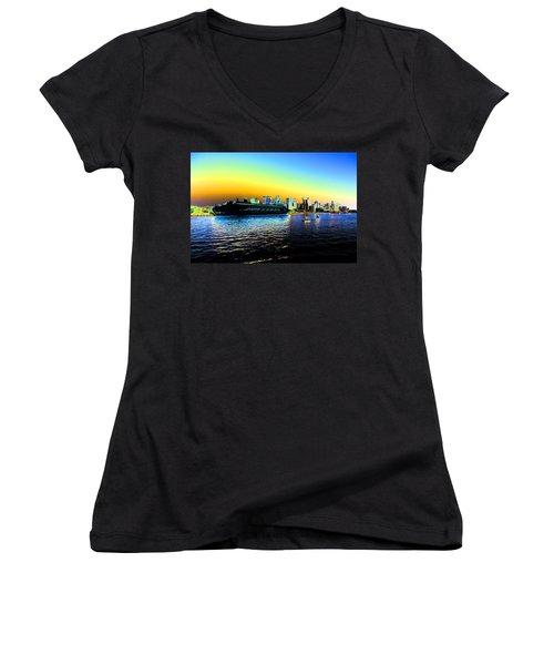 Sydney In Color Women's V-Neck T-Shirt (Junior Cut) by Douglas Barnard