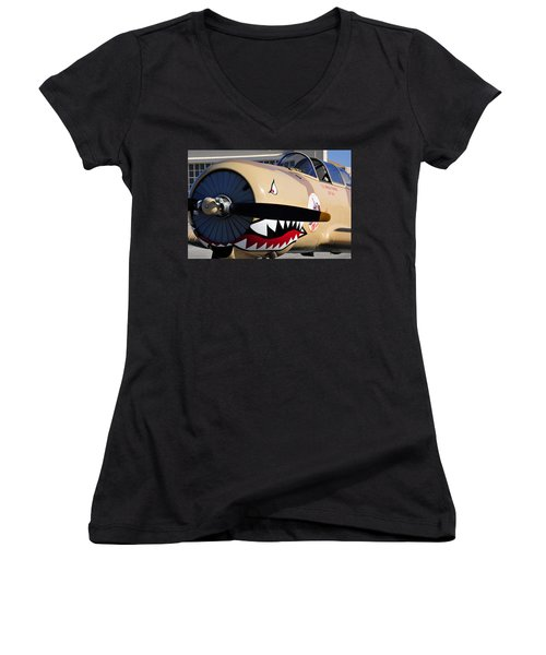Yak Attack Women's V-Neck T-Shirt (Junior Cut) by David Lee Thompson