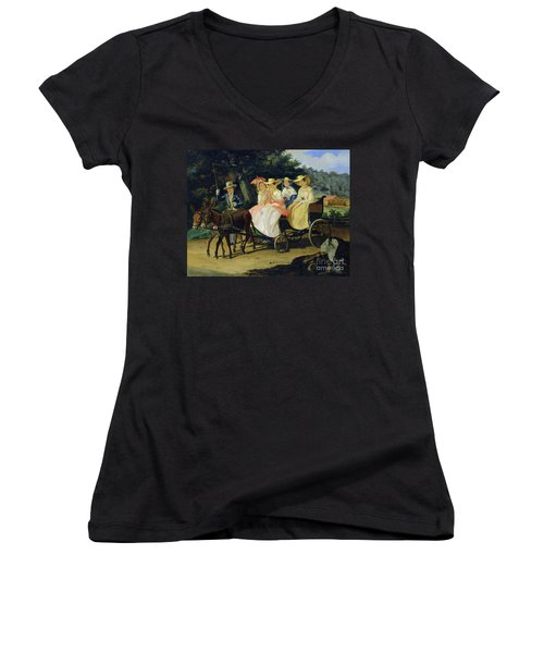 A Run Women's V-Neck T-Shirt (Junior Cut) by Aleksandr Pavlovich Bryullov