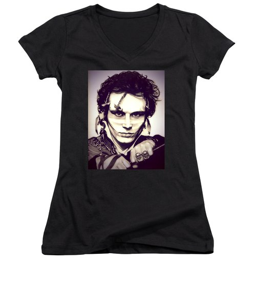 Adam Ant Women's V-Neck T-Shirt (Junior Cut) by Fred Larucci