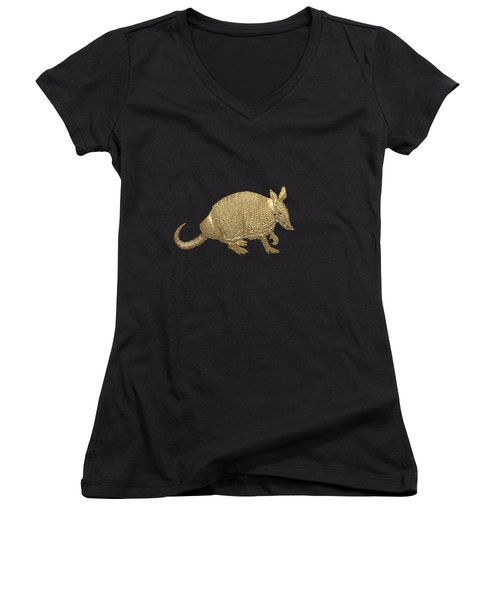 Gold Armadillo On Black Canvas Women's V-Neck T-Shirt (Junior Cut) by Serge Averbukh