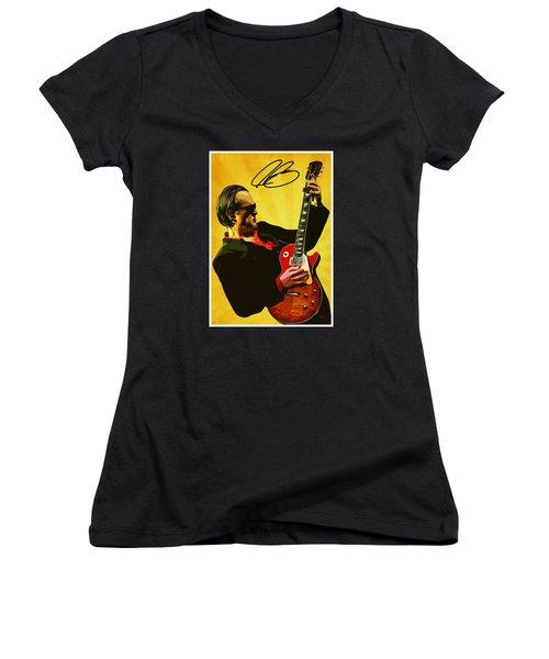 Joe Bonamassa Women's V-Neck T-Shirt (Junior Cut) by Semih Yurdabak