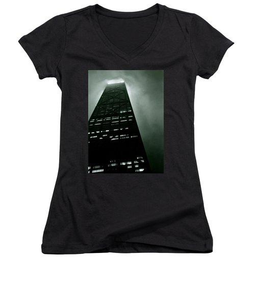 John Hancock Building - Chicago Illinois Women's V-Neck T-Shirt (Junior Cut) by Michelle Calkins