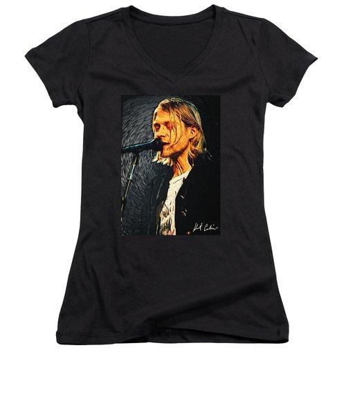 Kurt Cobain Women's V-Neck T-Shirt (Junior Cut) by Taylan Apukovska