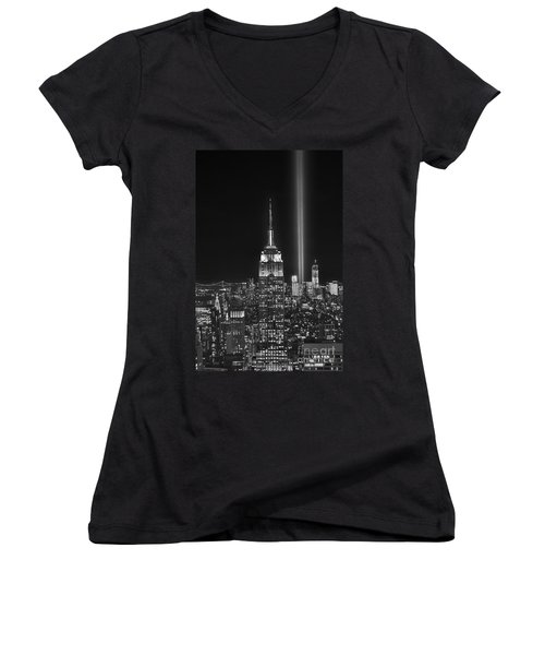 New York City Tribute In Lights Empire State Building Manhattan At Night Nyc Women's V-Neck T-Shirt (Junior Cut) by Jon Holiday