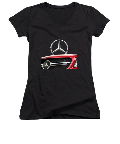 Red Mercedes - Front Grill Ornament And 3 D Badge On Black Women's V-Neck T-Shirt (Junior Cut) by Serge Averbukh