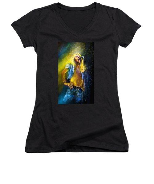 Robert Plant 01 Women's V-Neck T-Shirt (Junior Cut) by Miki De Goodaboom
