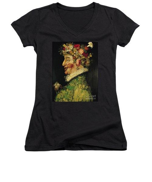 Spring Women's V-Neck T-Shirt (Junior Cut) by Giuseppe Arcimboldo