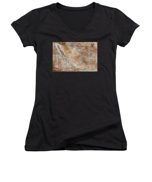 Mexico Surf Map  Women's V-Neck T-Shirt (Junior Cut) by Lucan Hirales